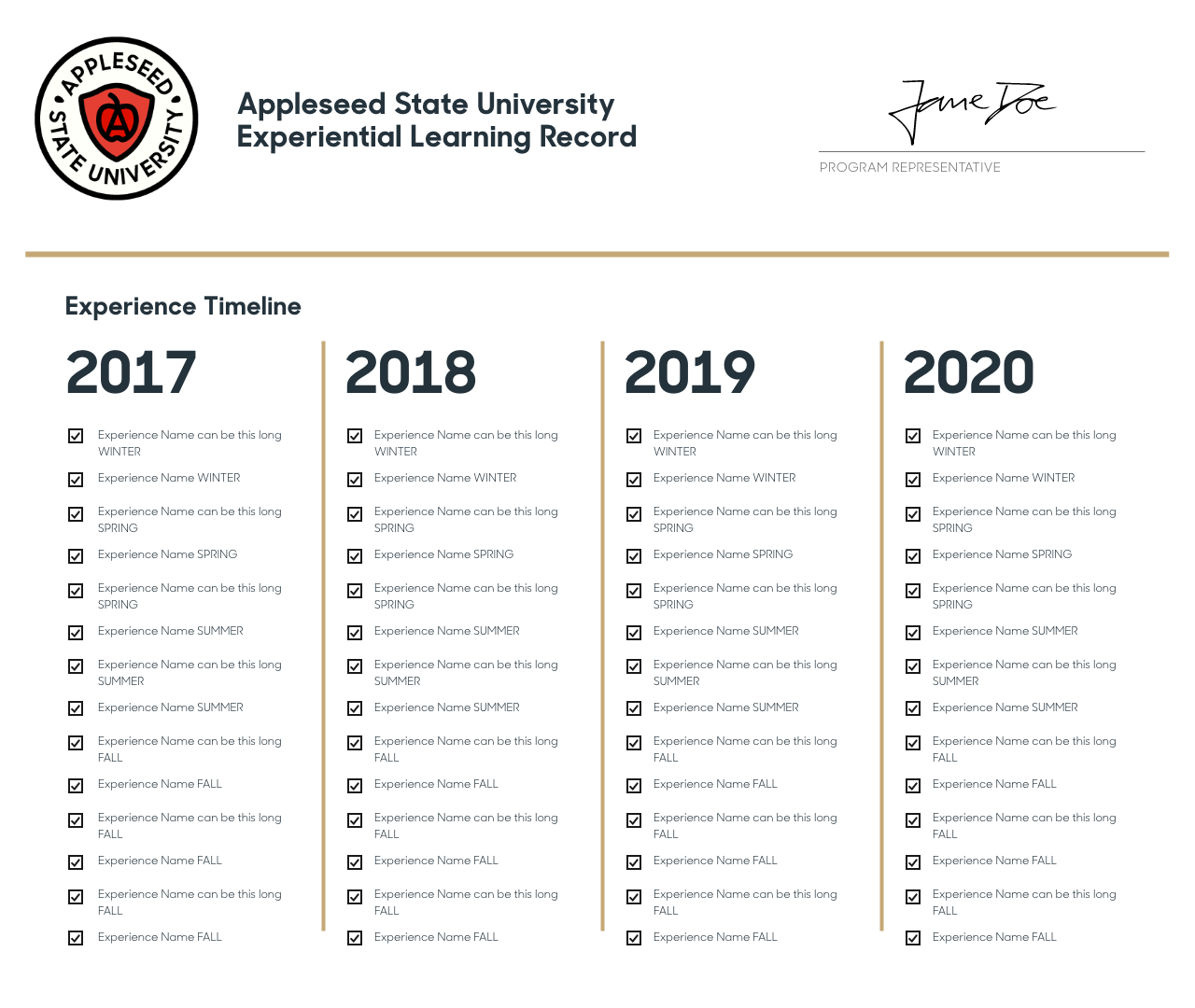 02_Suitable_ Experiential Learning Record_Timeline